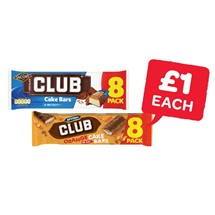 McVities Club Chocolate / Orange Cake Bars | 8 Pack