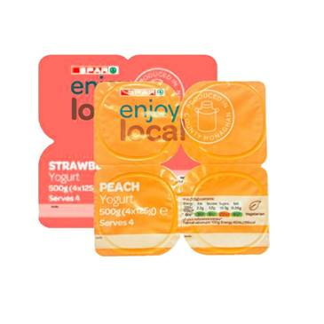 SPAR enjoy local Yoghurt Strawberry / Peach / Fruits of the Forest | 4 Pack