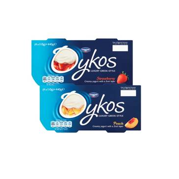 Oykos Yogurt Strawberry / Peach 110g | 4 Pack