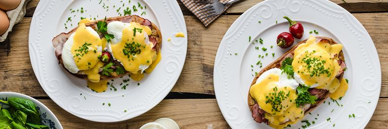 Eggs Benedict and Bacon on Toast