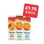£1.75 Each | Tropicana Original Orange / Smooth Orange / Orange & Mango / Pineapple | 850ml