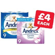 Andrex White / Natural / Gentle Clean | 9 Roll
