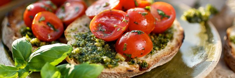 Tomato and Pesto Bruschetta