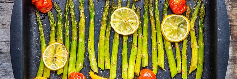 Valentines Meal with Asparagus and Lemon