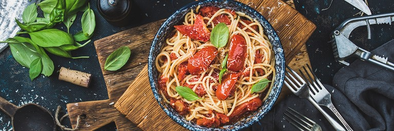 Tasty Dinner Idea for Two with Spaghetti and Tomatoes