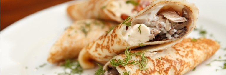 savoury pancake filling with chicken and bacon