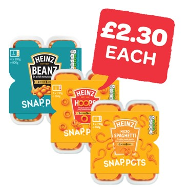 Heinz Beans / Spaghetti / Hoops Snap Pots 190 / 200g | 4 Pack