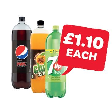 Pepsi Max / Diet / Club Zero / 7UP Free | 2 Litre