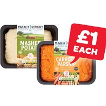 Mash Direct Mashed Potatoes / Carrot & Parsnip / Carrot, Parsnip & Turnip / Bubble & Squeak  | 400g