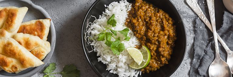 Lentil Curry with Rice and Naan Bread