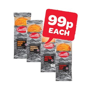 Ginsters Peppered Steak / Chicken & Mushroom / Chicken & Bacon / Mexican Chilli Beef Slice | 170g