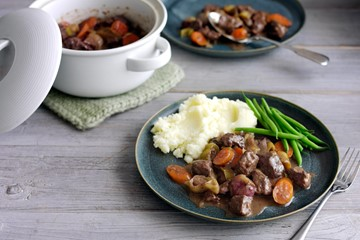 Beef Stew with Potato Mash and Green Beans