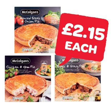 McColgans Mince & Onion / Steak & Gravy / Chicken & Ham Pie | 500g