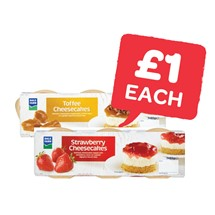 Dale Farm Cheesecake Strawberry / Toffee 85g | 3 Pack