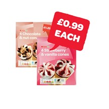 SPAR Choc & Nut / Strawberry Cones | 4